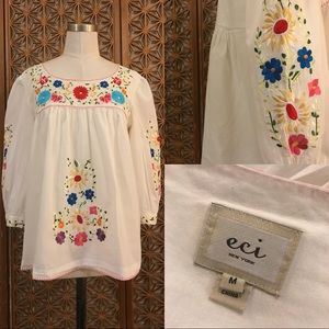ECI embroidered bohemian BoHo Mexican blouse M